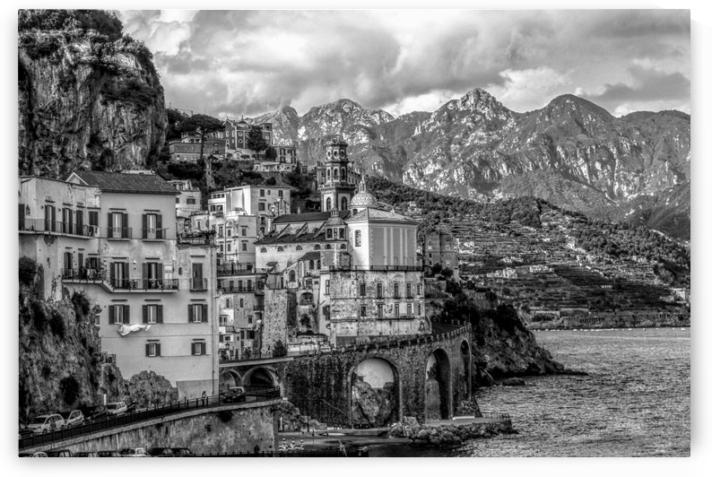 Black and White Landscape - Amalfi Coast - Italy by Bentivoglio Photography