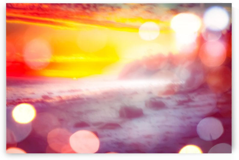 sunset sky at the beach in summer with bokeh light abstract by TimmyLA