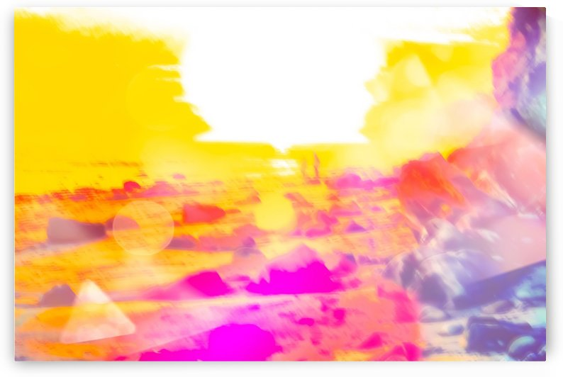 summer sunset at the beach with summer bokeh light abstract by TimmyLA