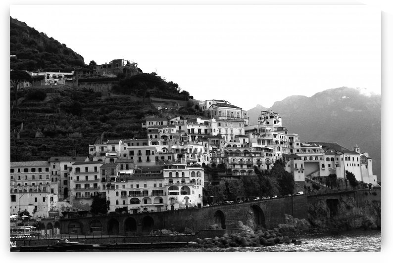 Amalfi Village -  Black and White Landscape by Bentivoglio Photography