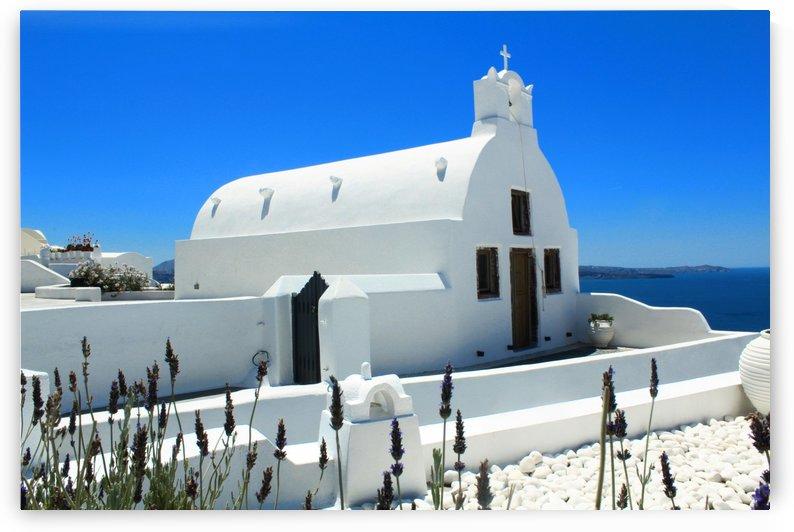 Small White Church in Santorini - Greece by Bentivoglio Photography