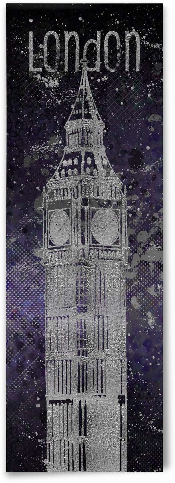 Graphic Art LONDON Big Ben| ultraviolet & silver by Melanie Viola