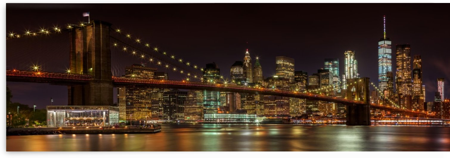MANHATTAN SKYLINE & BROOKLYN BRIDGE Idyllic Nightscape | Panoramic  by Melanie Viola