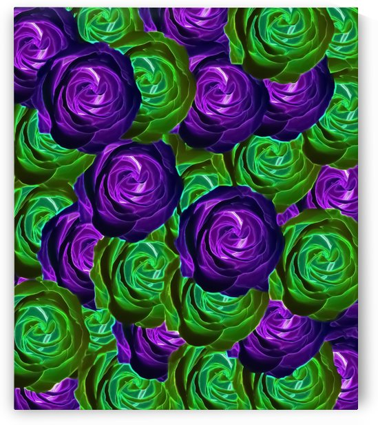 blooming rose texture pattern abstract background in purple and green by TimmyLA