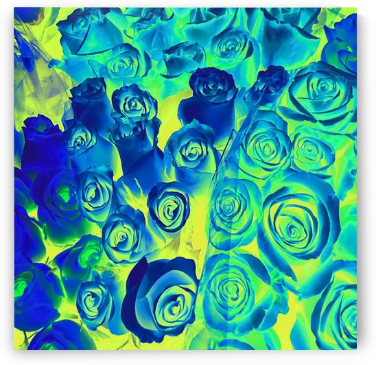 bouquet of roses texture pattern abstract in blue and green by TimmyLA