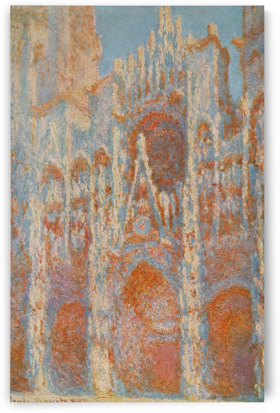 The Rouen Cathedral - The facade at sunset by Monet by Monet