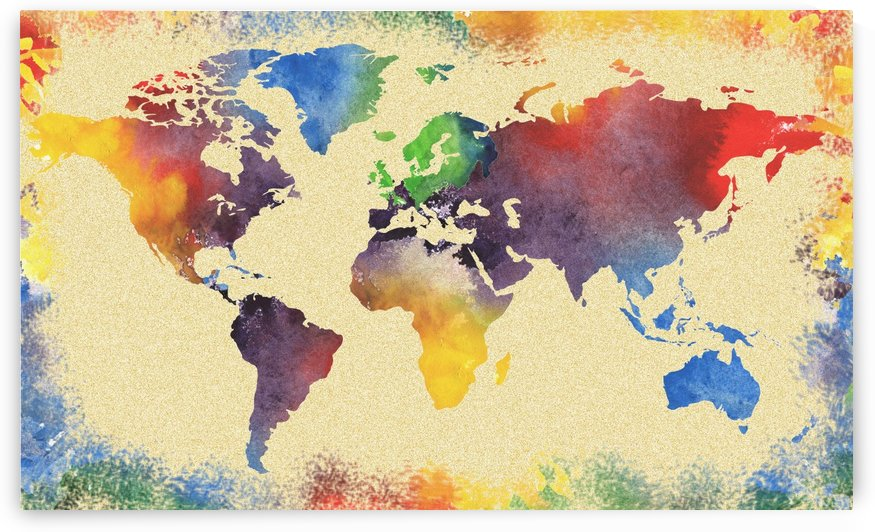 Watercolor World Map Vintage Rainbow by Irina Sztukowski