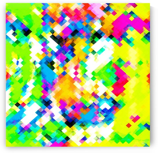 psychedelic geometric pixel abstract pattern in yellow blue green pink by TimmyLA