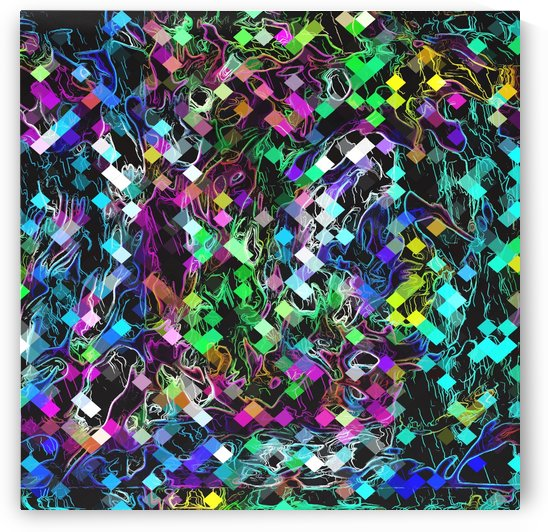 psychedelic geometric pixel abstract pattern in green blue pink yellow black by TimmyLA