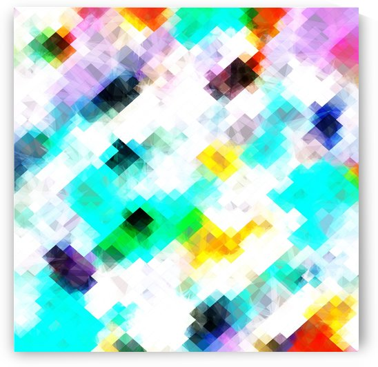 psychedelic geometric pixel abstract pattern in blue green yellow pink by TimmyLA