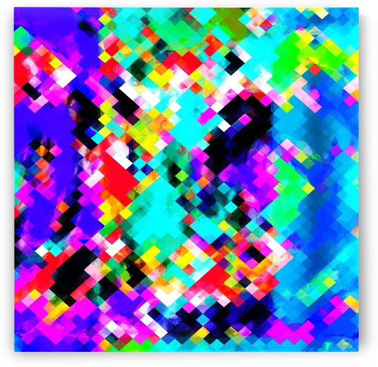 psychedelic geometric pixel abstract pattern in blue green purple pink yellow red by TimmyLA