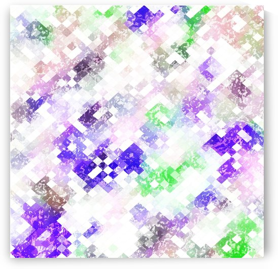 psychedelic geometric pixel abstract pattern in purple green pink by TimmyLA