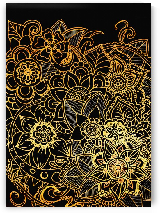 Floral Doodle Gold G523 by Medusa GraphicArt