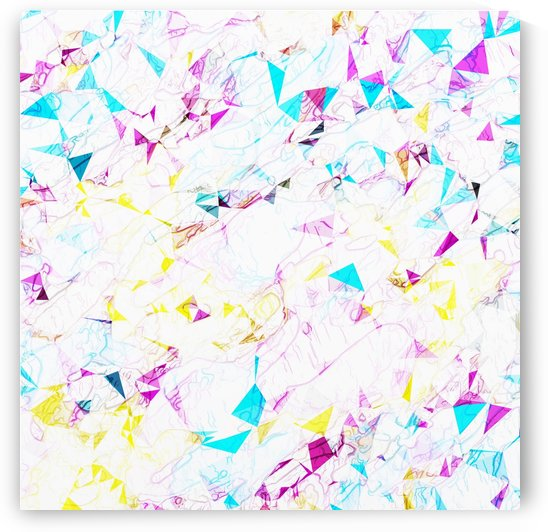 psychedelic geometric triangle polygon pattern abstract background in pink blue yellow by TimmyLA
