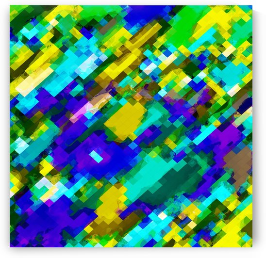 psychedelic geometric square pixel pattern abstract in green yellow blue purple by TimmyLA