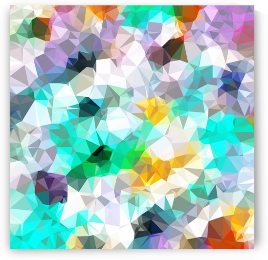 psychedelic geometric triangle polygon pattern abstract background in green blue yellow by TimmyLA