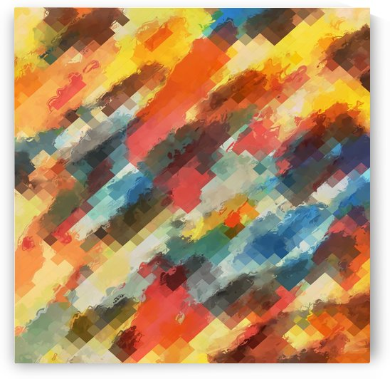 psychedelic camouflage geometric pixel square pattern abstract in orange yellow blue by TimmyLA