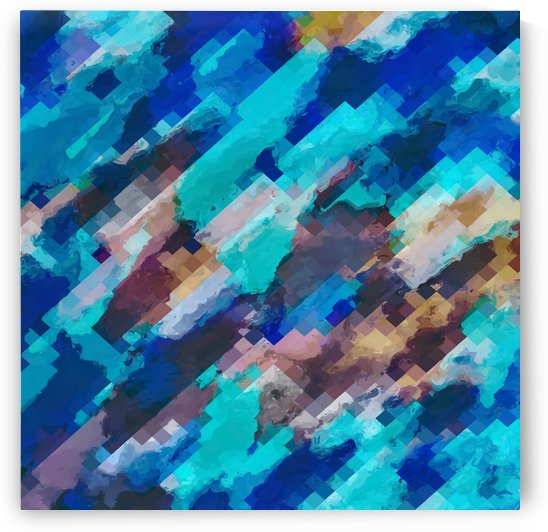 camouflage geometric pixel square pattern abstract in blue and brown by TimmyLA