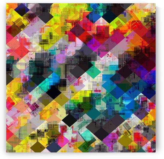 psychedelic square pixel pattern abstract background in red pink blue yellow green by TimmyLA