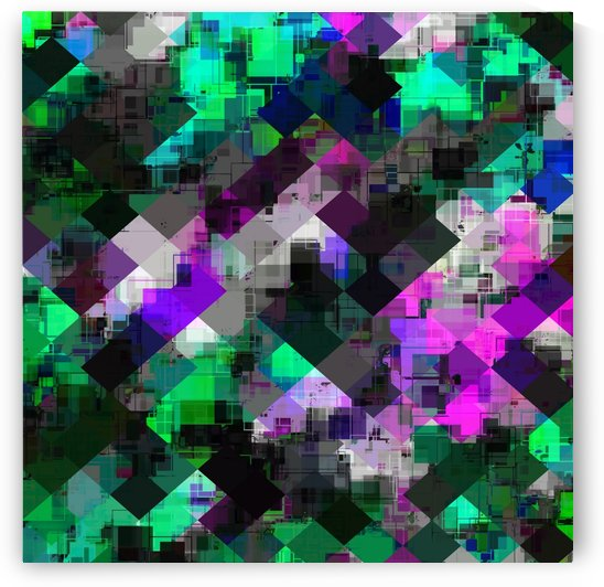 psychedelic square pixel pattern abstract background in green pink blue by TimmyLA