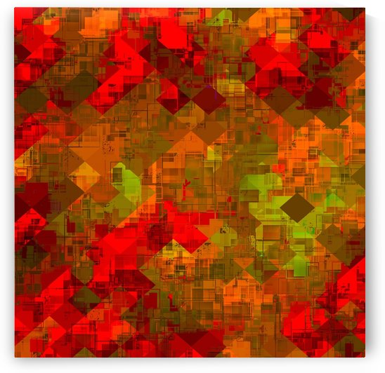 psychedelic square pixel pattern abstract background in red orange green by TimmyLA
