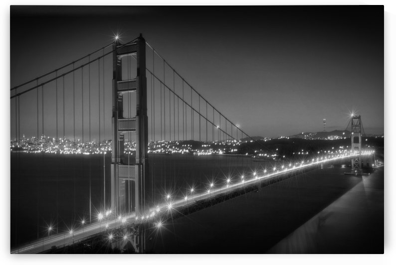 Evening Cityscape of Golden Gate Bridge | Monochrome by Melanie Viola