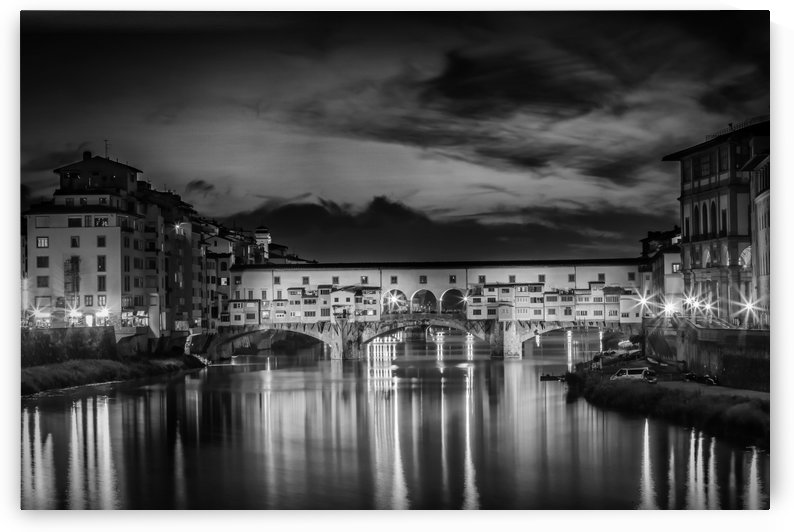 FLORENCE Ponte Vecchio at Sunset | Monochrome by Melanie Viola