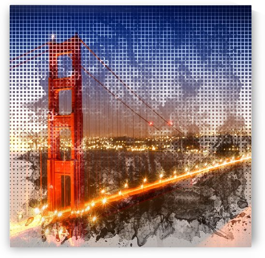 Graphic Art Golden Gate Bridge | watercolour style by Melanie Viola