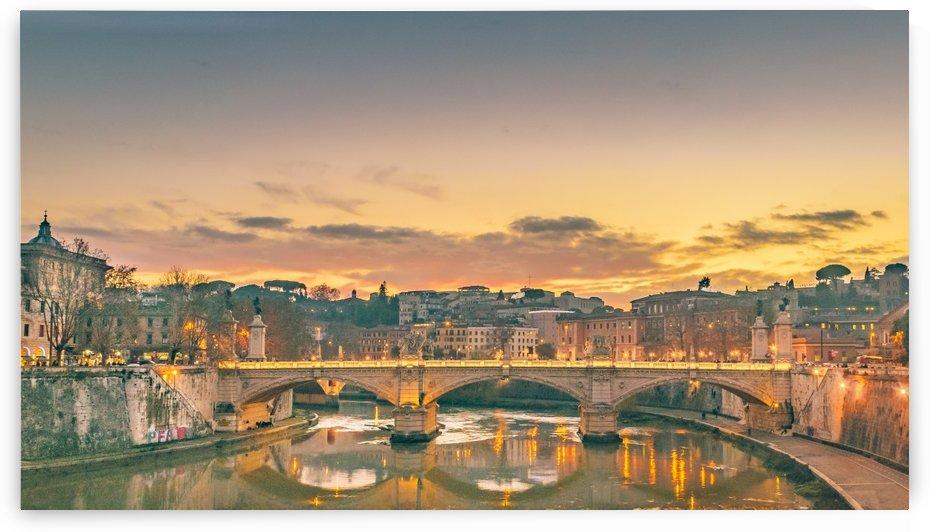Night Scene at Tiber River Rome Cityscape by Daniel Ferreia Leites Ciccarino