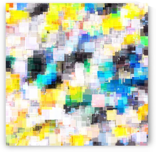 psychedelic geometric square pixel pattern abstract in blue yellow green by TimmyLA