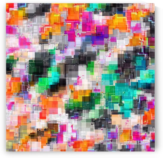psychedelic geometric square pixel pattern abstract in orange green pink blue by TimmyLA