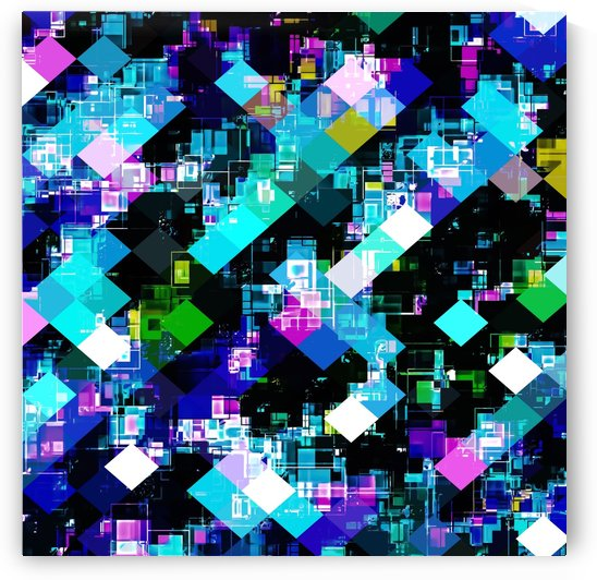 psychedelic geometric square pixel pattern abstract in blue yellow pink by TimmyLA