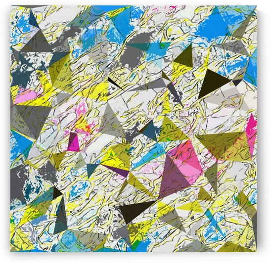 psychedelic geometric triangle polygon pattern abstract in yellow blue pink by TimmyLA