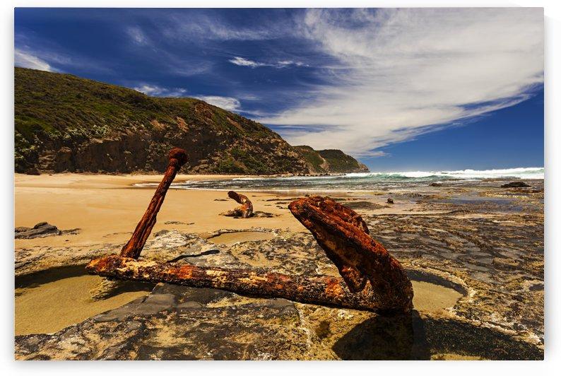 Rusty Anchor on Sandy Beach on Great Ocean Road Australia A010201_1402269 by Maxwell Jordan