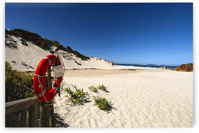 Red Lifesaving Ring on Sandy Beach B010200_1227760 by Maxwell Jordan