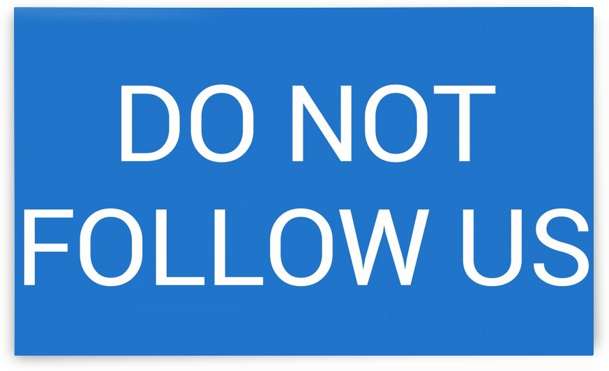 DO NOT FOLLOW US by lenie blue