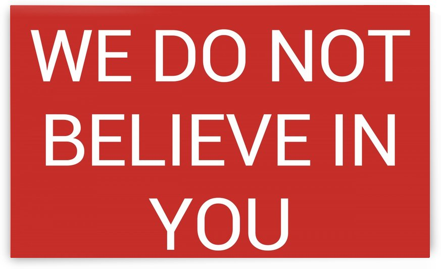 WE DO NOT BELIEVE IN YOU by lenie blue