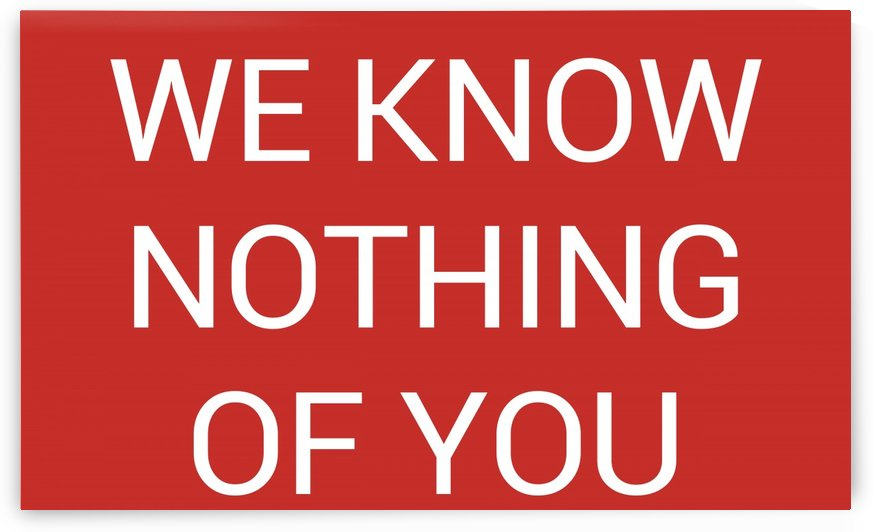 WE KNOW NOTHING OF YOU by lenie blue