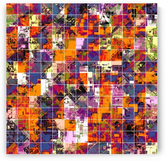 psychedelic geometric square pattern painting abstract background in orange blue pink red by TimmyLA
