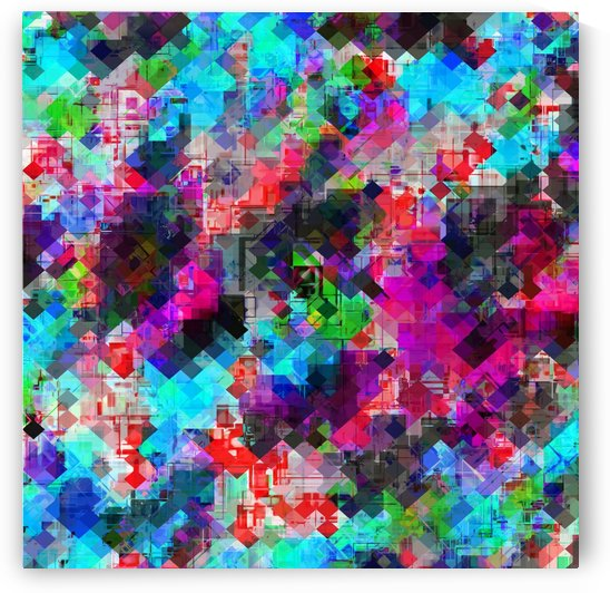 psychedelic geometric square pattern pixel abstract background in pink blue green red by TimmyLA