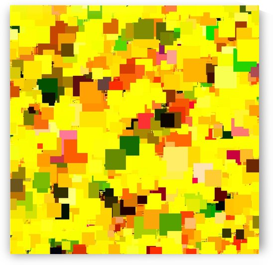 geometric square pattern pixel abstract background in yellow orange green red by TimmyLA