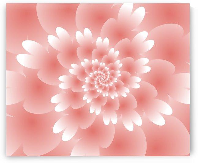 Shiny Orange Floral Art by Rizwana Khan