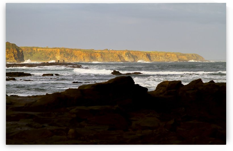 Distant Cliffs with Fishermen B010200_1000206 by Maxwell Jordan