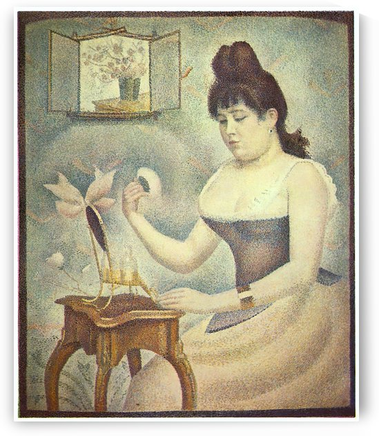 The woman with the powder puff by Seurat by Seurat