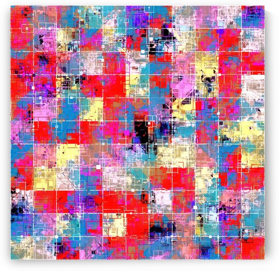 psychedelic geometric square pixel pattern abstract background in red pink blue yellow by TimmyLA