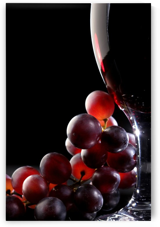 Red wine with grapes by Johan Swanepoel