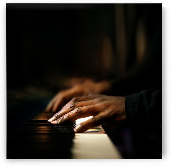 Hands playing piano close-up by Johan Swanepoel