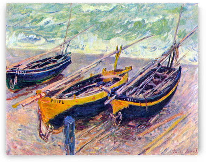 three fishing boats in Eretrat by Monet by Monet