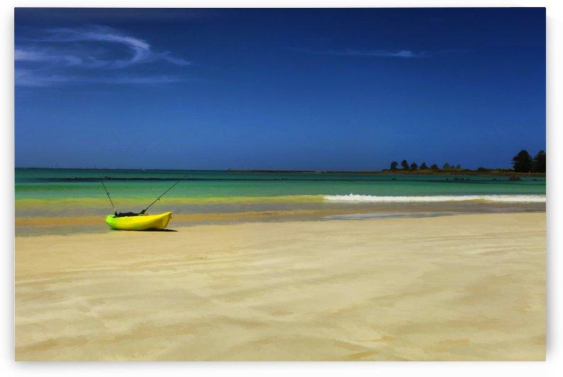 Lone Kayak on the Beach Digital Painting B011100_1115490 by Maxwell Jordan