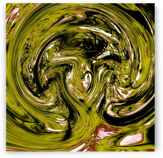 psychedelic spiral line pattern painting abstract background in green by TimmyLA